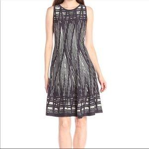 Nic + Zoe A Line Dress Gray Striped sleeveless